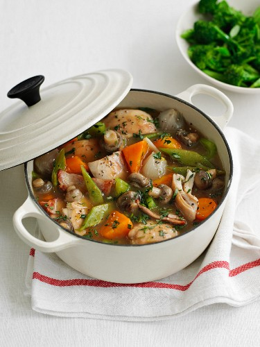 Vegetable stew with chicken and mushrooms
