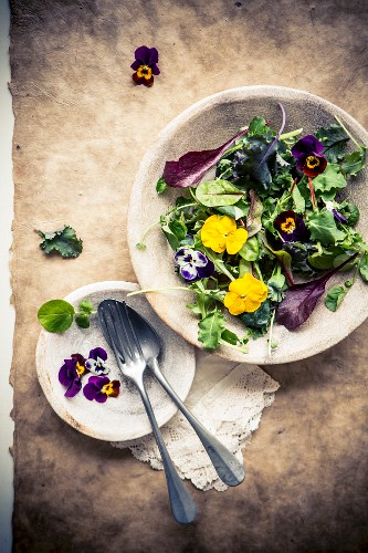 Mixed leaf salad with edible flowers