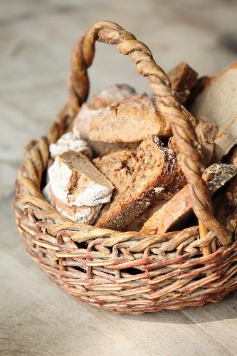 Rustic bread in a basket
