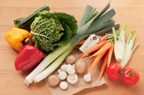 A still life of various different vegetables