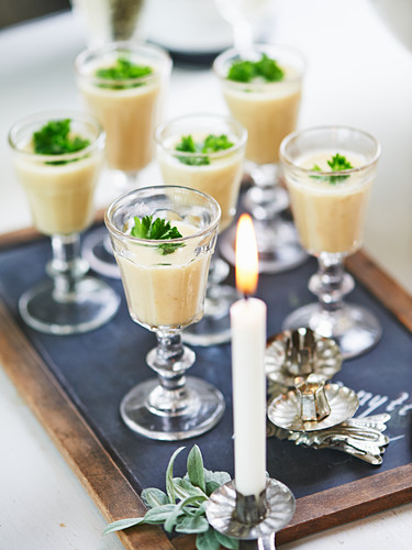 Jerusalem artichoke soup in shot glasses for New Year's Eve