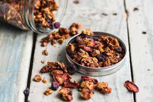 Granola with cocoa beans and dried fruit