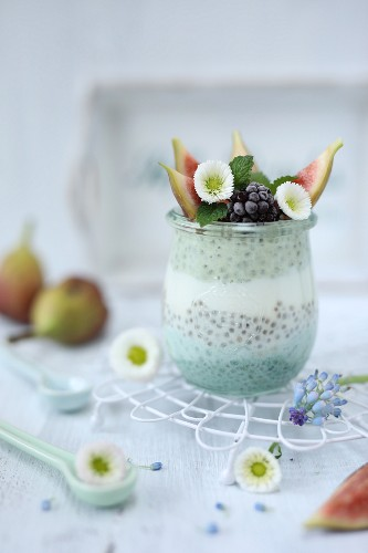 Blue chia pudding with fresh fruit