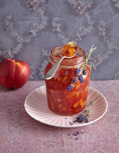 Caramelised nectarine jam with lavender