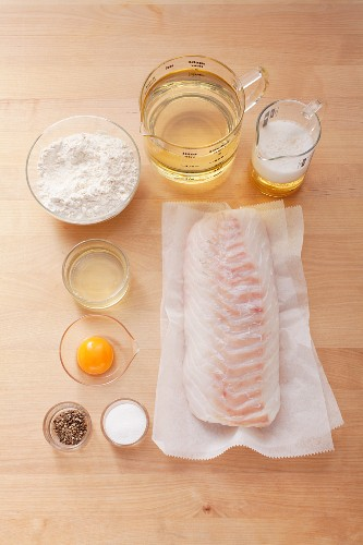 Ingredients for fried fish in beer batter