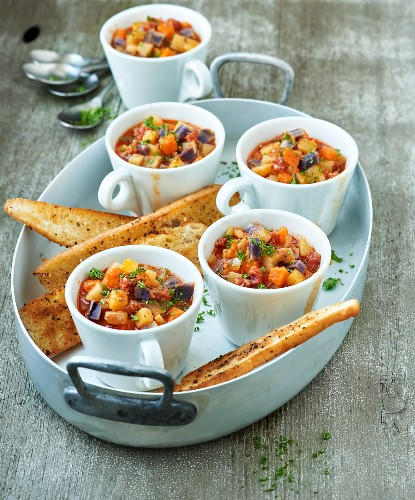 Colourful potato pots with chorizo and spicy toast