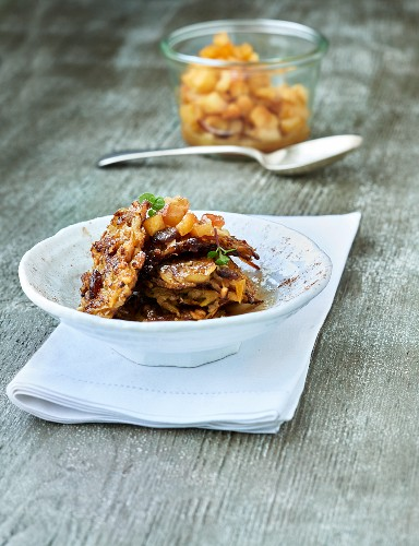Sweet potato fritters with amaretto, apple cubes and cinnamon sugar