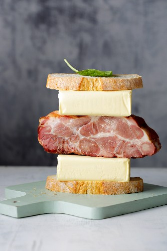 High fat, low carb - a stack of bread, butter and meat