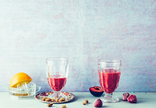 Plum and mulberry smoothie with aronia powder