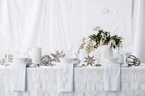 Laid table all in white