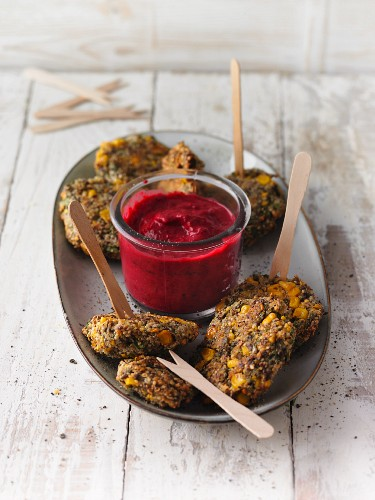 Quinoa and sweet lupin fritters with beetroot dip