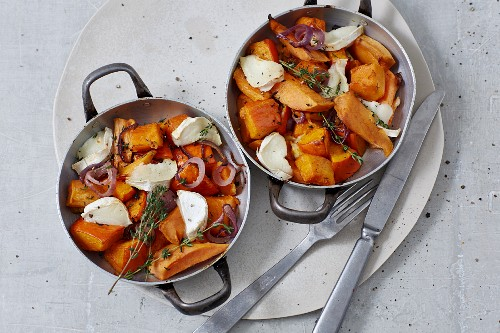 Pumpkin with sweet potatoes and goat's cheese