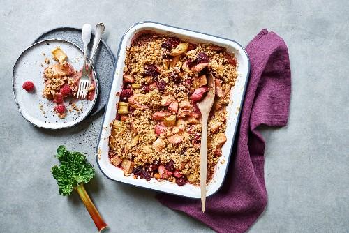 Rhubarb crumble in a baking dish