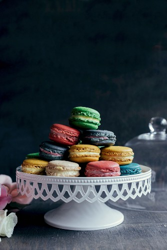 Sweet and colorful homemade macaroons served