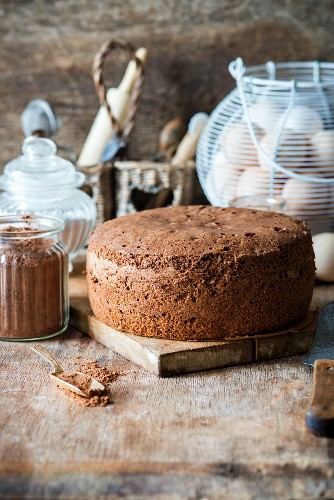 A baked chocolate biscuit cake