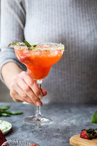 Strawberry Champagne Margarita