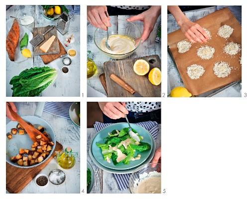 Zubereitung von Caesar Salad mit Parmesanhippen