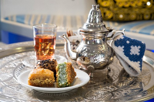 Varius baklava with Arabian tea