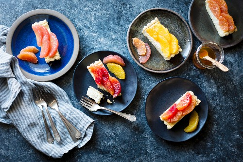 Citrus fruit and ricotta tart