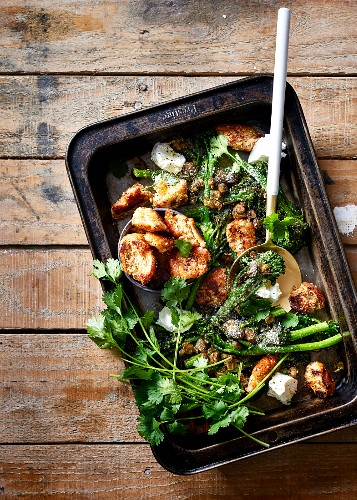 Broccolini with crunchy roasted capers, rustic croutons and goat's cheese