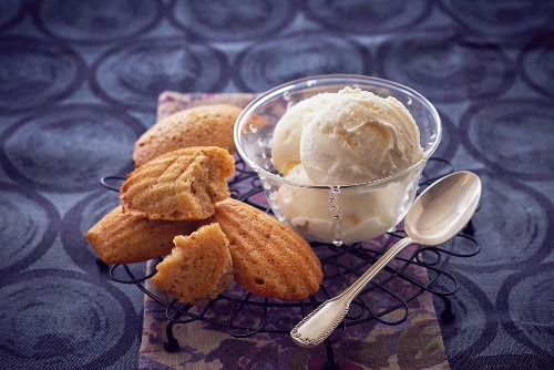 Cream cheese ice creams and madeleines