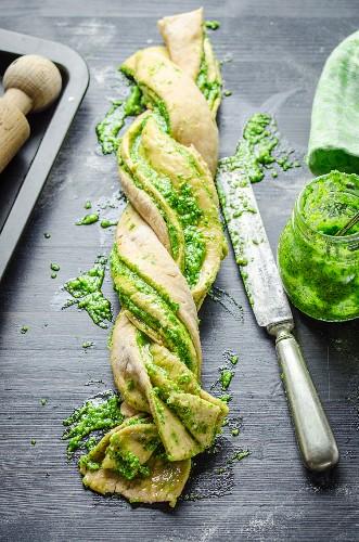 Plaited pesto bread (unbaked)