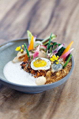Nasi goreng with shellfish by head chef Syrco Bakker at the 'Pure C' restaurant in Cadzand-Bad, Holland