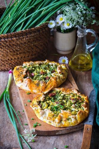 Spring onion tarts