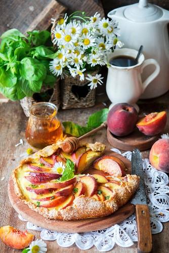 Peach galatte with cream cheese and basil