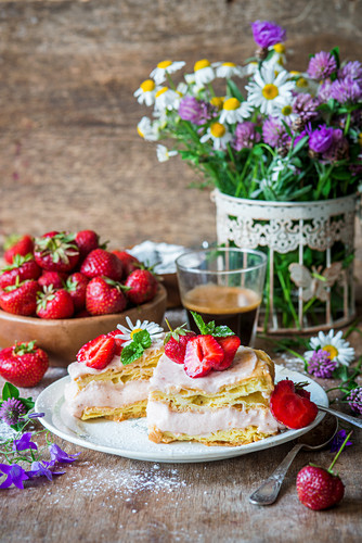 Karpatka (Choux pastry cake, Poland) with strawberry custard cream