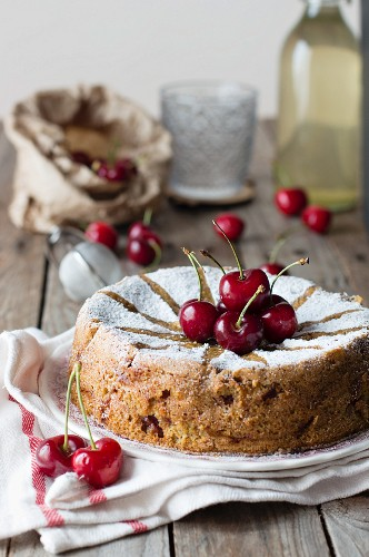 Cherry cake with icing sugar