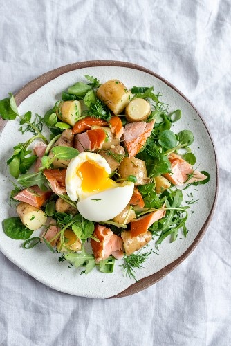 Potato and herb salad with honey roasted salmon and soft boiled egg