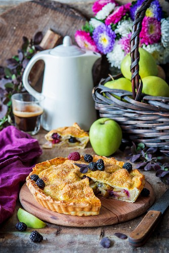 Apple pie with blackberries