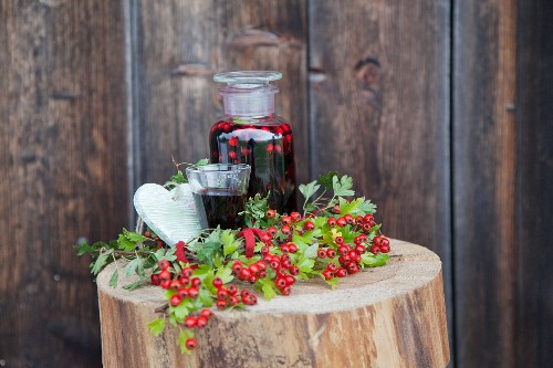Wine with hawthorn berries
