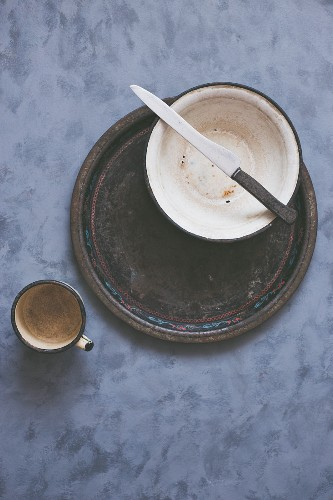 Rustic cup, bowl, tray and knife