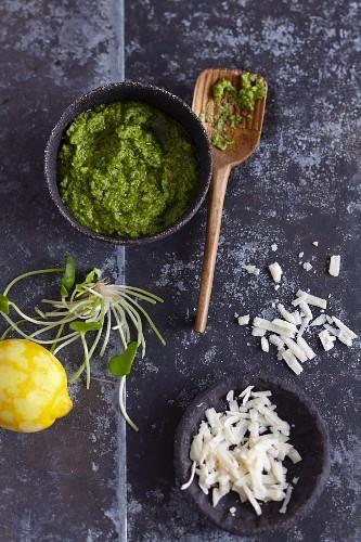 Postelein-Pesto mit Parmesan