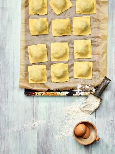 Homemade ravioli (German pasta dish) on a baking sheet
