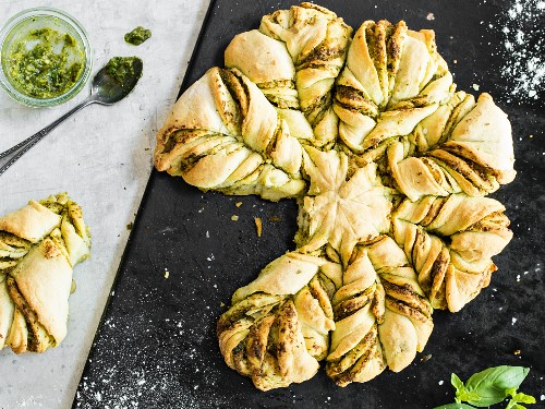 A yeast bread flower with pesto