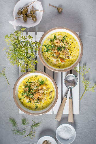 Creamy seafood chowder with smoked haddock, praws, mussels, squid and dill
