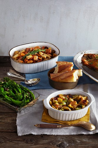 Various side dishes for a turkey dinner