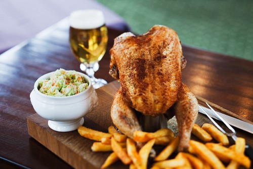 Beer can chicken and chips