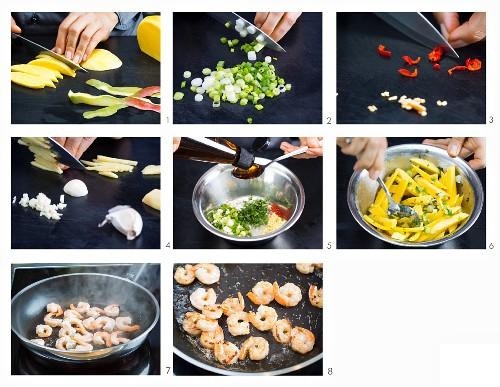 Mango-Garnelen-Salat zubereiten