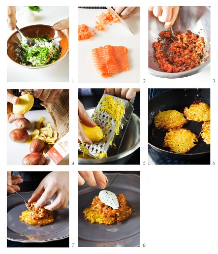 How to make salmon tartare on a potato fritter with herb quark
