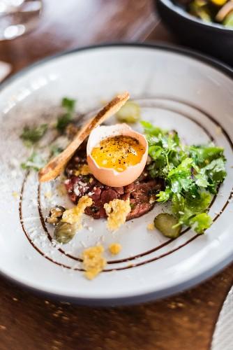 Steak tartare with raw egg