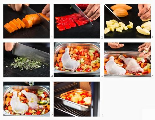 Hähnchenkeulen aus dem Ofen zubereiten
