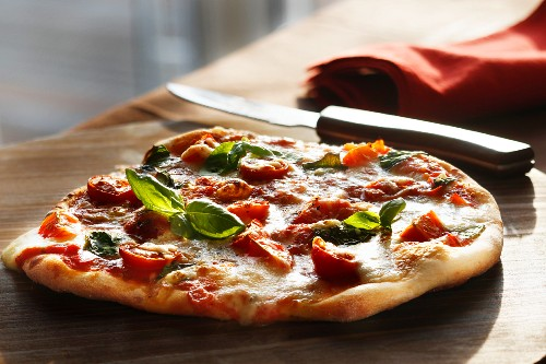 Pizza Margherita with tomato and basil