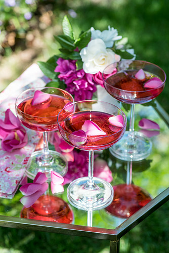 Champagne and rose water cocktails
