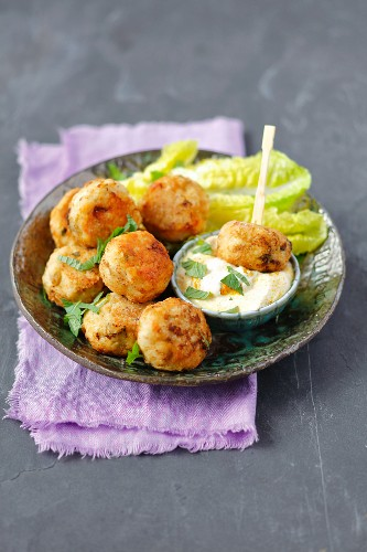 Chicken meatballs with curry dip