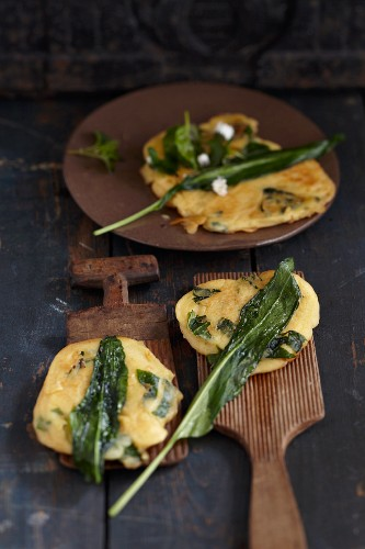 Wild garlic and quark fritters