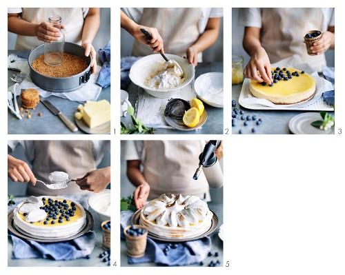 Preparing Blueberry Lemon Meringue Cheesecake